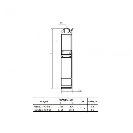 Скважинный насос Насосы+Оборудование 65SWS1,1-63-0,55 13054
