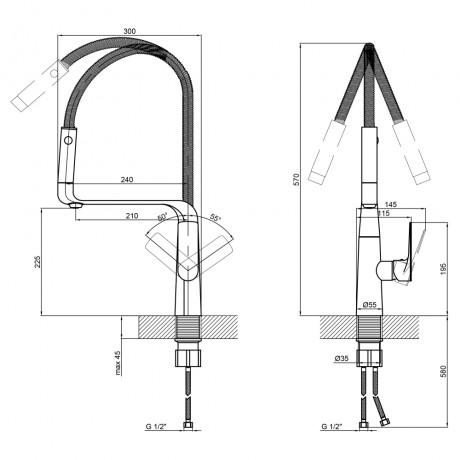 Смеситель для кухни с рефлекторным изливом Qtap Kuchyne 91107AC