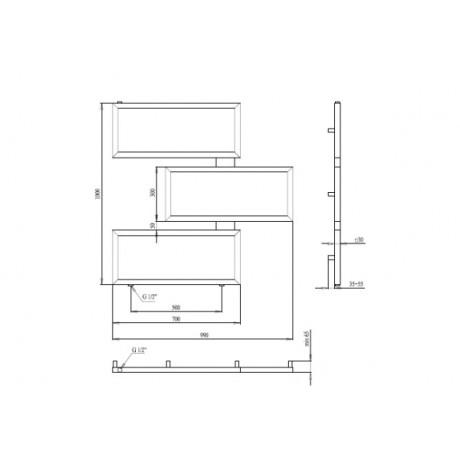 Водяной полотенцесушитель  Paladii Етерно 1000х990х3 1м 1/2 КВ138