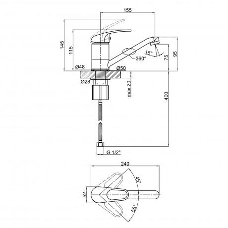 Смеситель для кухни Lidz (CRM) Cosmos 80 003 01