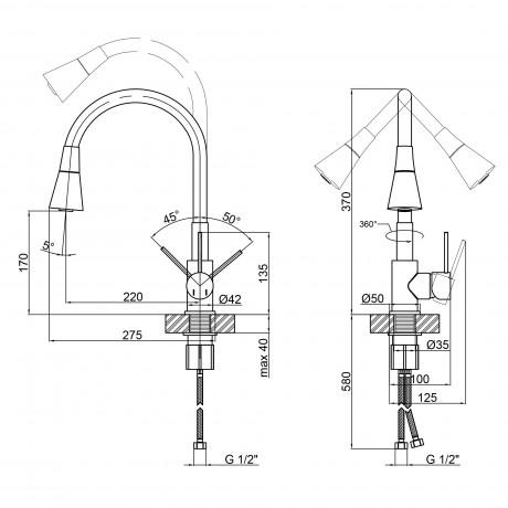 Смеситель для кухни с рефлекторным изливом Qtap Spring CRW 007F-1