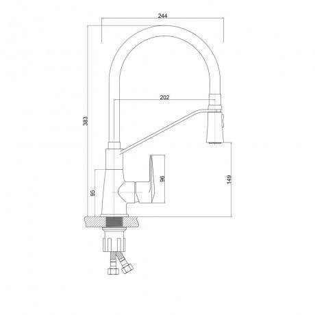 Смеситель для кухни с рефлекторным изливом Qtap Estet CRW 007F