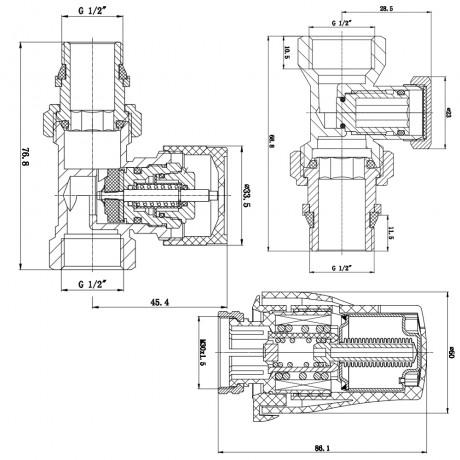 """Комплект термостатический SD Forte 1/2"""" для радиатора прямой"""