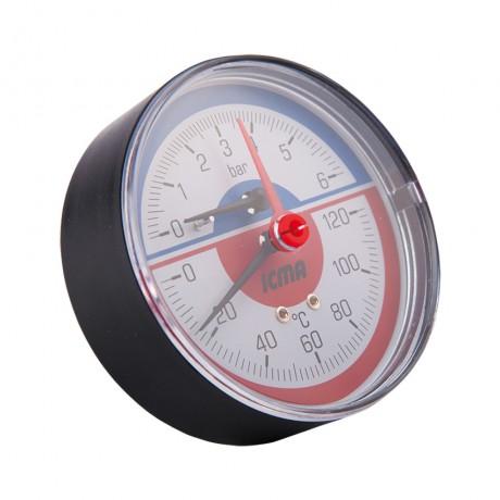 "Термоманометр Icma 1/2"" 0-10 бар, заднее подключение №259"