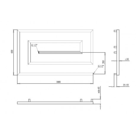 Водяной полотенцесушитель Paladii Грацио- скоба 600х1000х5 30х30 КВ124
