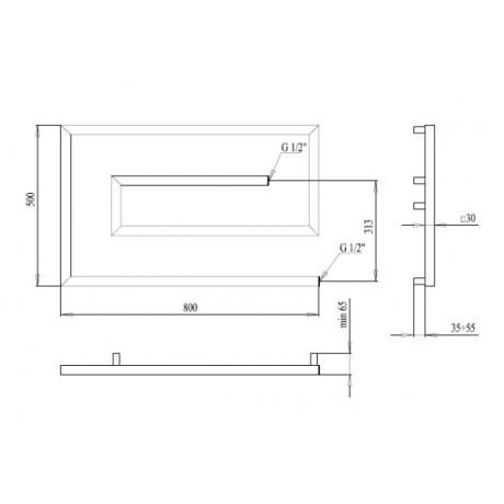 Водяной полотенцесушитель Paladii Грацио- скоба 500х800х4 30х30 КВ123