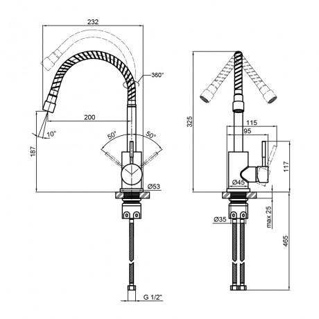 Смеситель для кухни с рефлекторным изливом Lidz (NKS) 12 32 015F-4