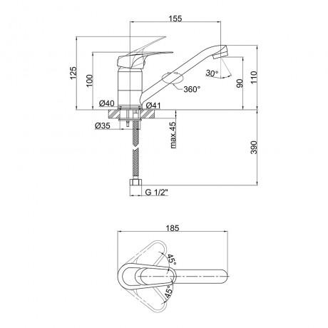 Смеситель для кухни Lidz (CRM) 16 37 002 01