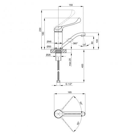 Смеситель для кухни Lidz (CRM) Watt 83 003 01
