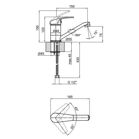 Смеситель для кухни Lidz (CRM) Premiera 84 002M