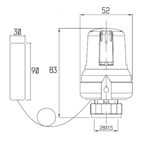 Термоголовка Icma 28х1,5 с выносным датчиком №987