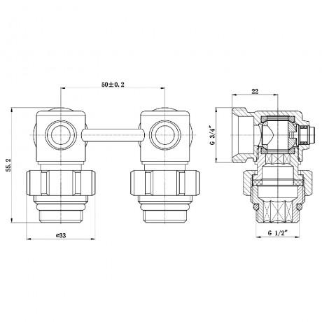 "Кран шаровой SD Forte 3/4""х1/2"" для радиатора нижний угловой"