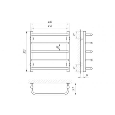 Водяной полотенцесушитель Laris Стандарт П5 450 х 500