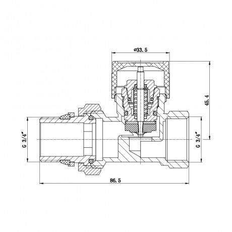 """Клапан термостатический SD Forte 3/4"""" с антипротечкой для радиатора прямой"""