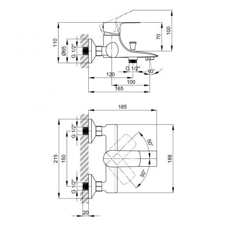 Смеситель для ванны Qtap Svitava 3011107DC