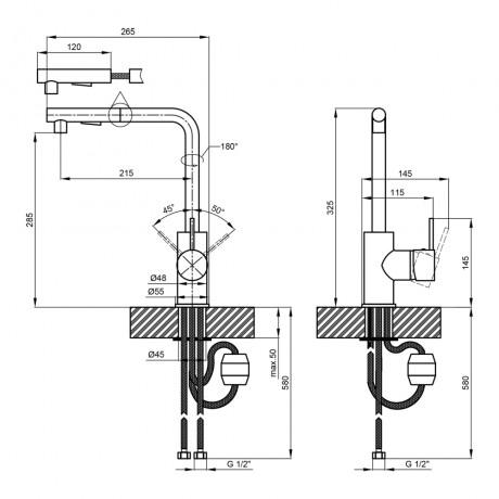 Смеситель для кухни с выдвижным изливом Qtap Kuchyne 91107FC