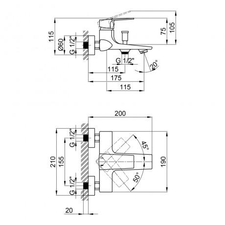 Смеситель для ванны Qtap Lodenice 3030101DC