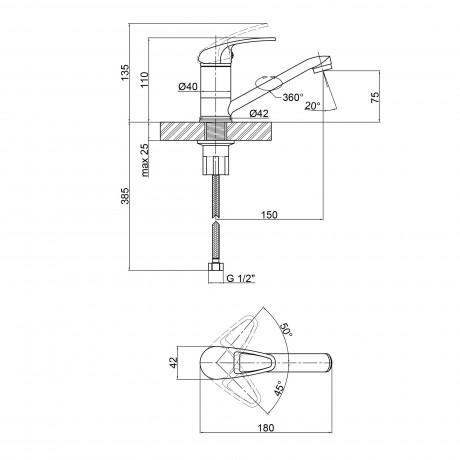 Смеситель для кухни Lidz (CRM) Premiera 41 003М