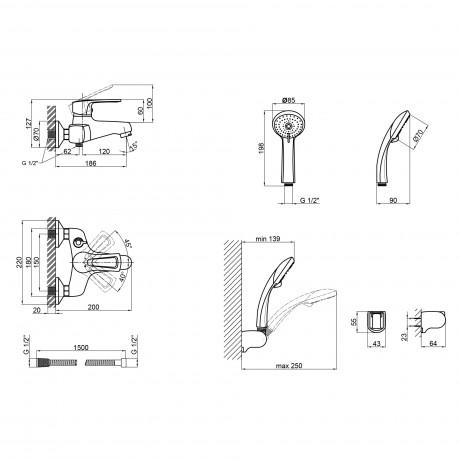 Смеситель для ванны Qtap Hansberg CRM 006 New