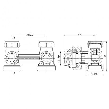 "Кран буксовый SD Forte 3/4""х1/2"" для радиатора нижний угловой"