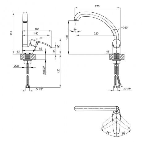 Смеситель для кухни Lidz (WHI) 40 87 008F-3