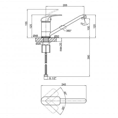 Смеситель для кухни Lidz (CRM) Mars 81 003 00