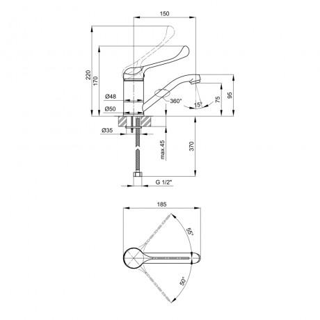 Смеситель для кухни Lidz (CRM) Watt 83 002M