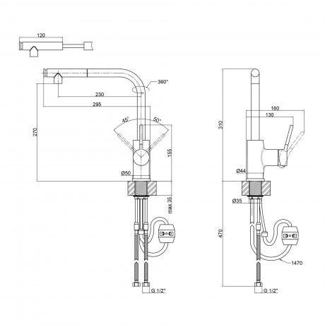 Смеситель для кухни с выдвижным изливом Qtap Inspai CRM 007F