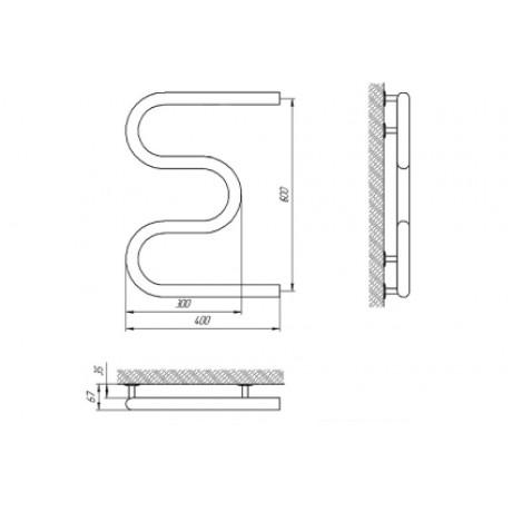 Водяной полотенцесушитель Laris Змеевик 32 РС3 400 х 600