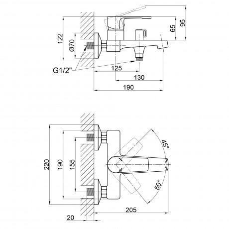 Смеситель для ванны Qtap Vitkov 3019104GC