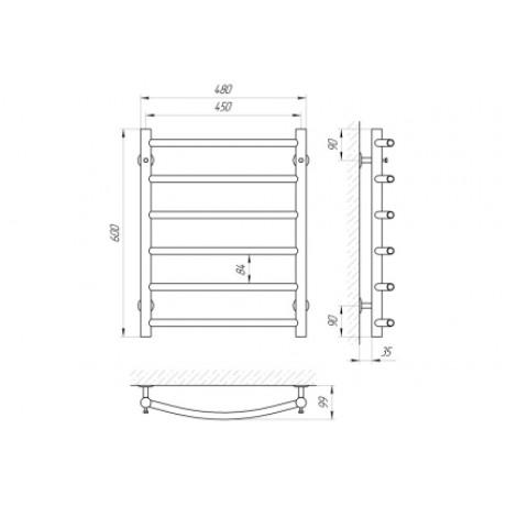 Водяной полотенцесушитель Laris Классик П6 450 х 600 б/в 1/2