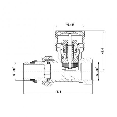 """Клапан термостатический SD Forte 1/2"""" с антипротечкой для радиатора прямой"""