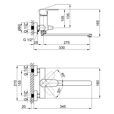 Смеситель для ванны Qtap Vranov 3218104GC