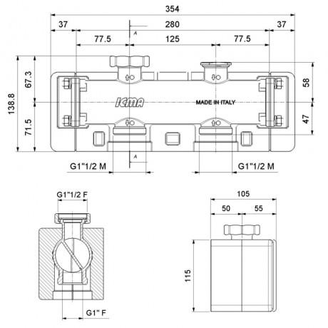 """Сборный коллектор Icma 1""""х1"""" 1/2 ВН с двойной камерой №785"""
