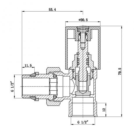 """Кран радиаторный с антипротечкой SD Forte 1/2"""" угловой хром"""