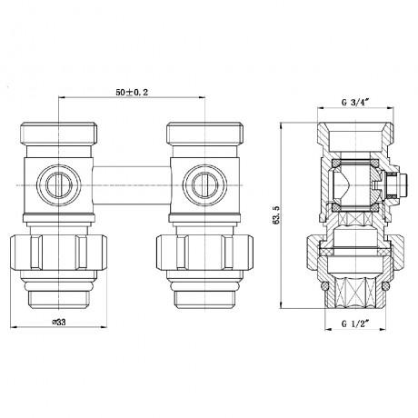"Кран шаровой SD Forte 3/4""х1/2"" для радиатора нижний"