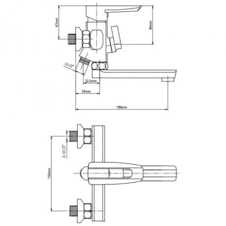 Смеситель для ванны Lidz (CRM) 13 33 006-1 New