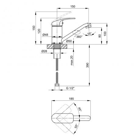 Смеситель для кухни Lidz (CRM) Mars 81 003 01