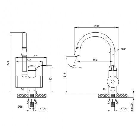 Кран для кухни проточный Lidz (WCR) 0058