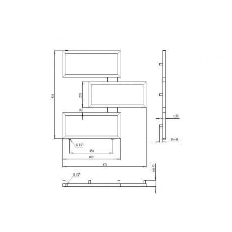 Водяной полотенцесушитель  Paladii Етерно 910х880х3 1м 1/2 КВ137