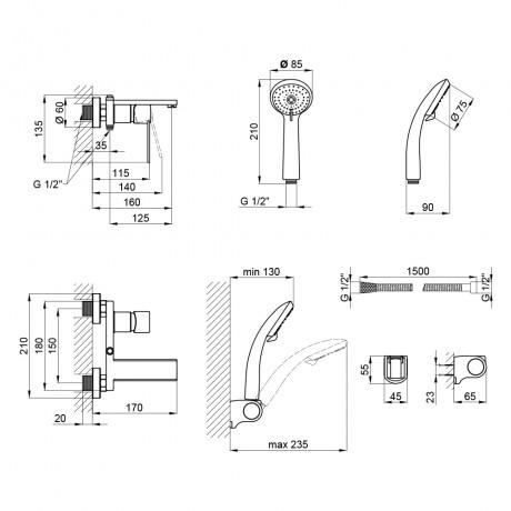 Смеситель для ванны Qtap Form CRM 006