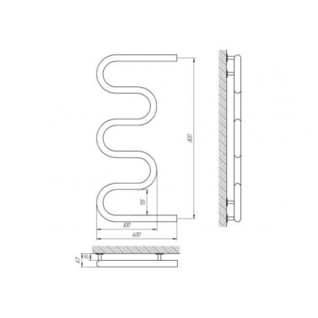 Водяной полотенцесушитель Laris Змеевик 32 РС5 400 х 800