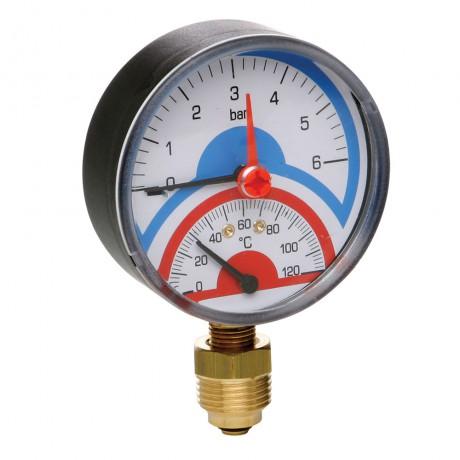 """Термоманометр Icma 1/2"""" 0-4 бар, нижнее подключение №258"""
