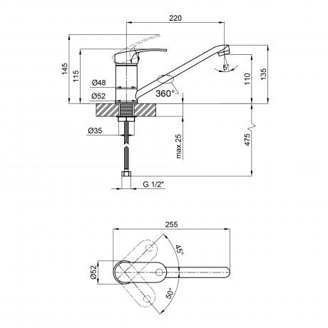 Смеситель для кухни Qtap Mars СRM 003