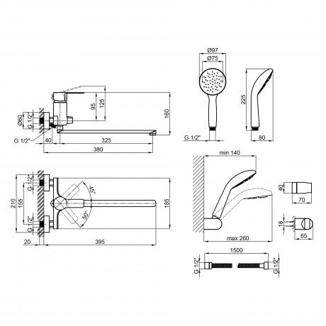 Смеситель для ванны Qtap Eco CRM 005 New