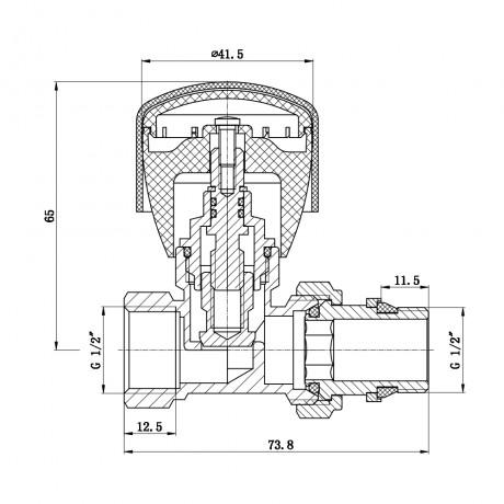 """Кран радиаторный SD Forte Powerful 1/2"""" с антипротечкой прямой"""