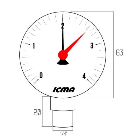 "Манометр Icma 1/4"" 0-4 бар, нижнее подключение №244"