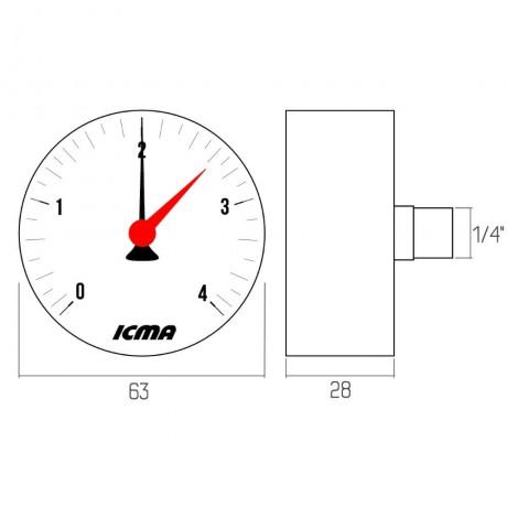 """Манометр Icma 1/4"""" 0-10 бар, заднее подключение №243"""