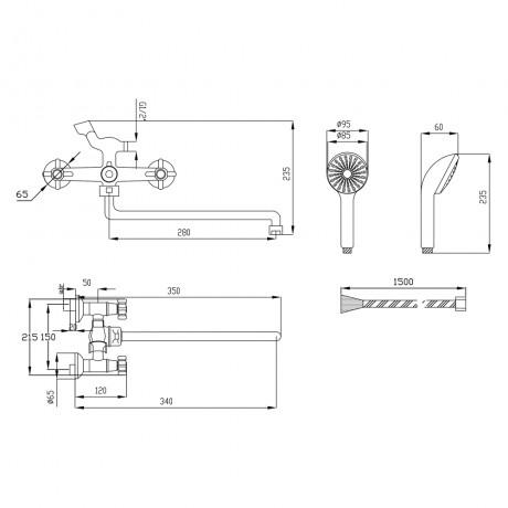 Смеситель для ванны Lidz (CRM) 75 22 140S New