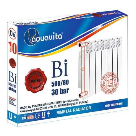 Радиатор биметаллический  AQUAVITA 500/80 D10